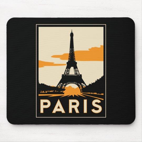 paris art deco retro travel poster mouse pad