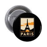 paris art deco retro travel poster pinback buttons