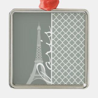 Paris; Ash Gray Moroccan Quatrefoil Christmas Tree Ornament