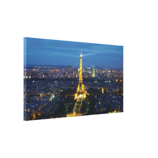 Paris at Night Aerial Panorama Print Canvas