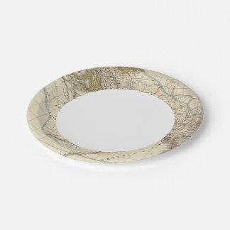 Paris atlas map paper plate