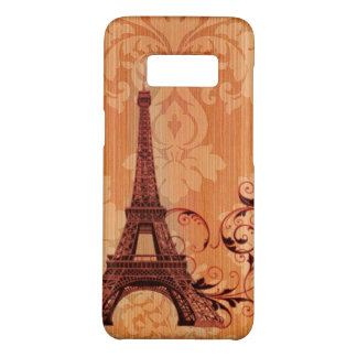 Paris autumn eiffel tower orange floral damask Case-Mate samsung galaxy s8 case