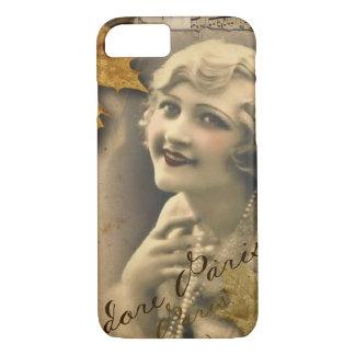 Paris autumn leaves vintage 1920 great gatsby Girl iPhone 8/7 Case