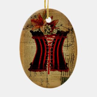 Paris Bachelorette Party vintage corset Ceramic Ornament