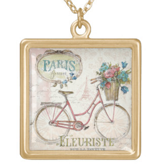 Paris Bike With Flowers In Front Gold Plated Necklace