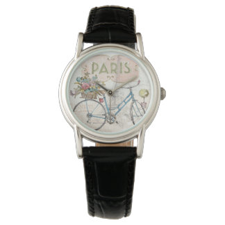 Paris Bike With Flowers Watch