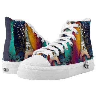 Paris bird swirl art high top sneaker shoes printed shoes