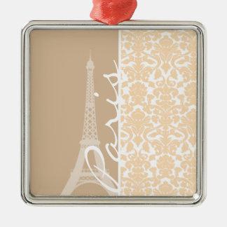 Paris; Bisque Color Damask Pattern Christmas Ornaments