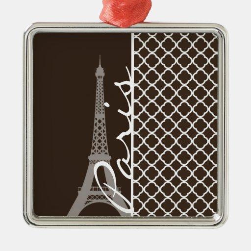 Paris; Bistre Brown Quatrefoil Christmas Tree Ornament