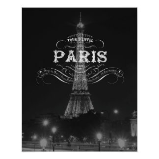 Paris Black and White Travel Poster Eiffel Tower