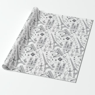 Paris Black and White Wrapping Paper