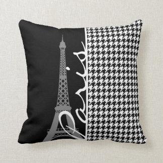 Paris; Black & White Houndstooth Cushion