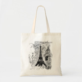 Paris Black & White Street Scene with Eiffel Tower Budget Tote Bag