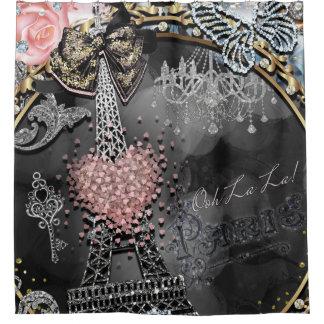 Paris Bling Glamour Sparkle France Girly Trendy Shower Curtain