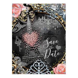 Paris Bling Glamour Sparkle France Save the Date Postcard