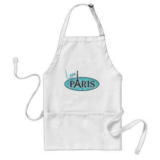Paris; Blue-Green Damask Pattern Adult Apron