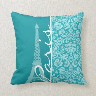 Paris; Blue-Green Damask Pattern Cushions