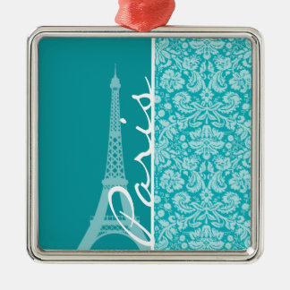 Paris; Blue-Green Damask Pattern Christmas Tree Ornaments