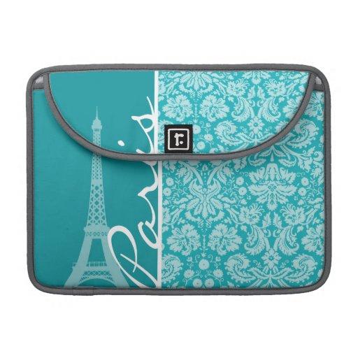 Paris; Blue-Green Damask Pattern MacBook Pro Sleeve