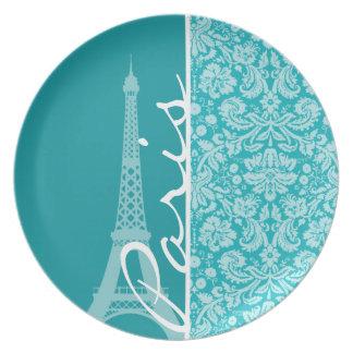 Paris; Blue-Green Damask Pattern Dinner Plates