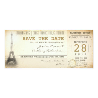 Paris boarding pass tickets for save the date 10 cm x 24 cm invitation card