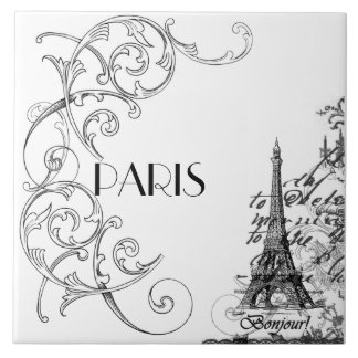Paris Bonjour Collage Tile Trivet