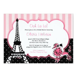 Paris Bridal Shower Invitations - Pink and Black