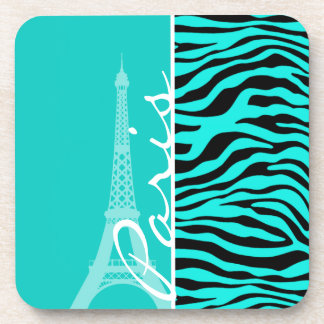 Paris; Bright Turquoise Zebra Animal Print Coasters
