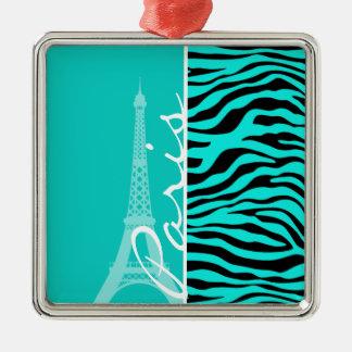 Paris; Bright Turquoise Zebra Animal Print Silver-Colored Square Decoration