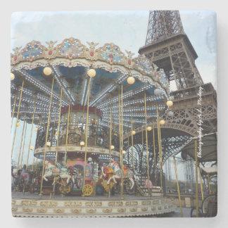 Paris Carousel (& Eiffel Tower) Stone Beverage Coaster