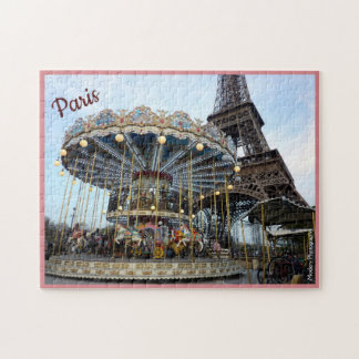 Paris Carousel (& Eiffel Tower) with text Jigsaw Puzzle