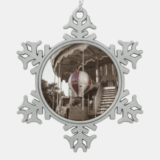 Paris Carousel Pewter Snowflake Decoration