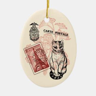 Paris Cat Ceramic Oval Decoration