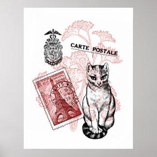 Paris Cat Poster