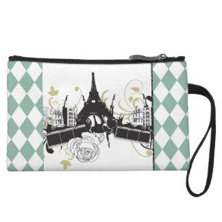 Paris Checkered Color Clutch Wristlet Purse