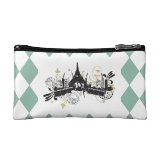 Paris Checkered Colored Small Cosmetic Bag