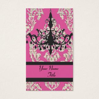 Paris chic hot pink damask vintage chandelier business card