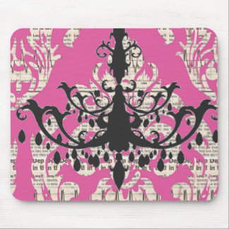 Paris chic hot pink damask vintage chandelier mouse pad