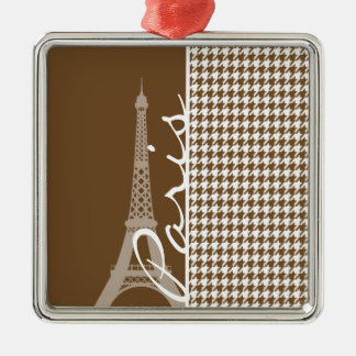 Paris; Chocolate Brown Houndstooth Silver-Colored Square Decoration