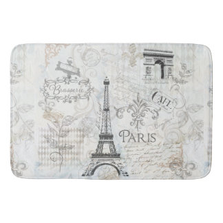 Paris city collage design Bath mat French decor