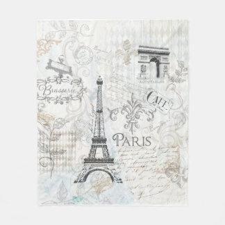 Paris city collage design throw fleece blanket