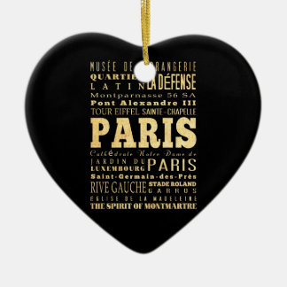 Paris City of France Typography Art Christmas Ornaments