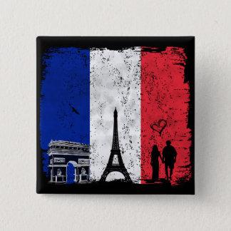 Paris city of love 15 cm square badge