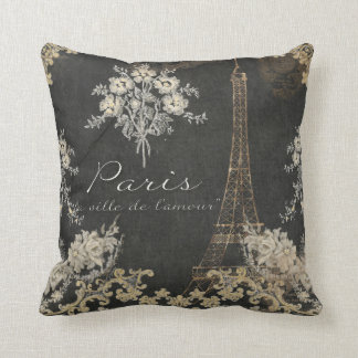 Paris City of Love Eiffel Tower Chalkboard Floral Cushion