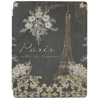 Paris City of Love Eiffel Tower Chalkboard Floral iPad Cover