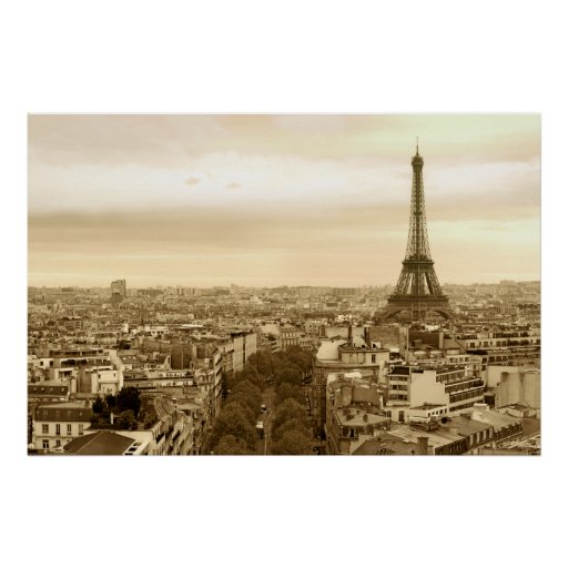 paris cityscape poster