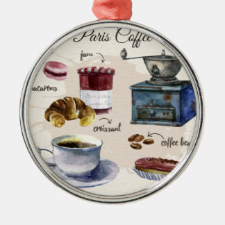 Paris coffee Silver-Colored round decoration
