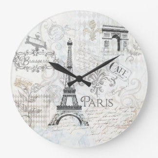 Paris Collage art Clock