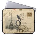 Paris Crow Globe French Postcard Laptop Sleeve