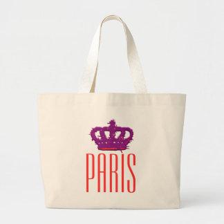 Paris Crown Jumbo Tote Canvas Bags